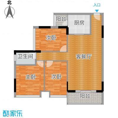 畔月湾广场95.04㎡C3户型3室1厅1卫1厨