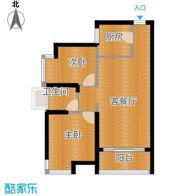 沿海江湾国际63.10㎡B1户型2室2厅1卫