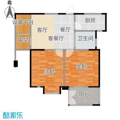 紫玉公馆80.00㎡偶数层户型2室1厅1卫1厨