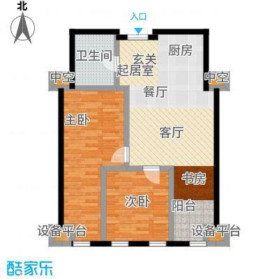 中铁瑞达广场131.50㎡G户型 两室两厅一卫户型2室2厅1卫
