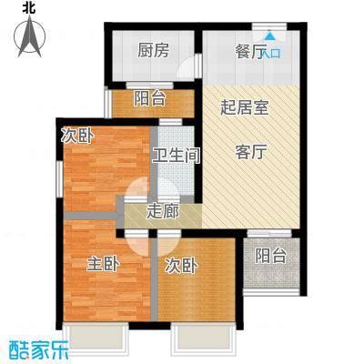 汇通太古城90.74㎡6号地B户型3室2厅1卫户型3室2厅1卫