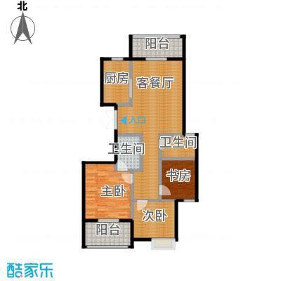 东润枫华117.00㎡H户型3室1厅2卫1厨