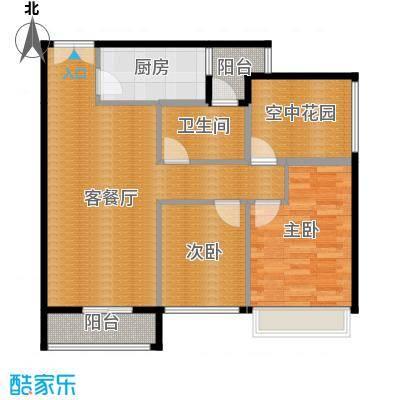 领尚天地88.00㎡5-8栋H0户型2室1厅1卫1厨