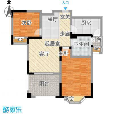 永新秀郡87.00㎡高层标准层B户型2室2厅1卫