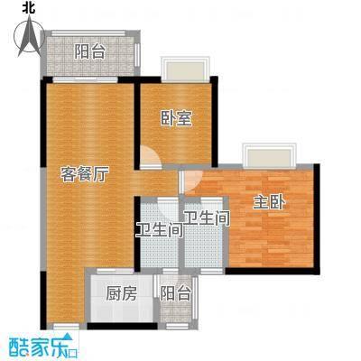 金田花园花域19栋标准层B2户型1室1厅2卫1厨