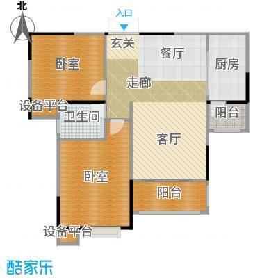 惠泽云锦城89.00㎡二期A3户型2室2厅1卫