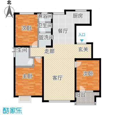 亿利傲东国际144.00㎡12层西单元户型3室2厅2卫LL