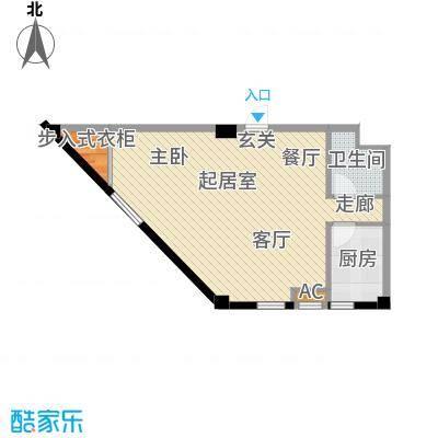 国民院子74.63㎡一室二厅一卫户型1室2厅1卫QQ