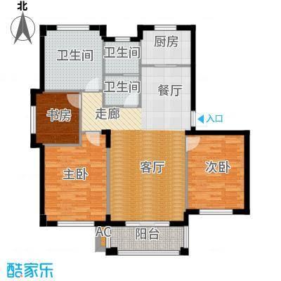 运达诺维溪谷113.00㎡B2 四室二厅一卫户型4室2厅1卫
