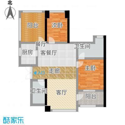 卓越皇后道073-4栋A-B单元B单位奇数层户型2室1厅2卫1厨
