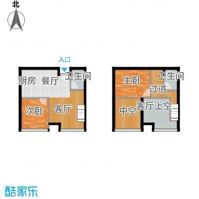 BOBO悠乐城52.76㎡公寓K户带夹层户型2室2厅2卫