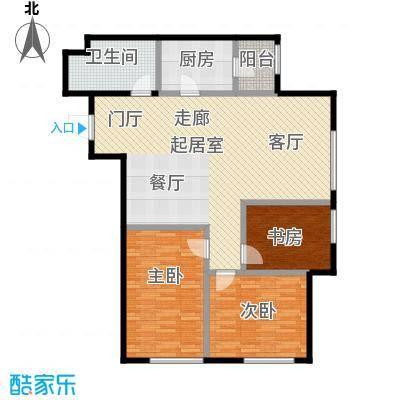 亿合城110.00㎡4号楼B户型三室一厅两卫户型3室1厅2卫
