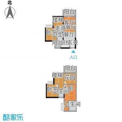 金田花园花域19栋复式E1户型1室1厅3卫1厨