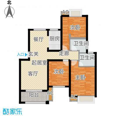 阳澄人家101.00㎡一期标准层户型3室2厅2卫QQ