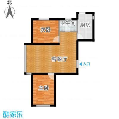 香江铂朗明珠78.71㎡高层C户型2室2厅1卫