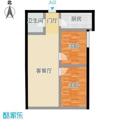 天润广场61.84㎡C2珑萃8501和户型2室2厅1卫