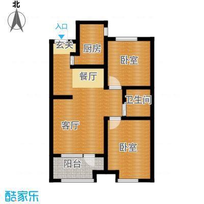 金地铂悦89.00㎡高层E1户型2室2厅1卫