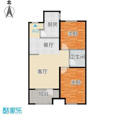 金地铂悦92.00㎡高层E1户型2室2厅1卫
