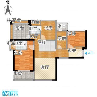 卓越皇后道89.00㎡011-2栋A-B单元C单位奇数层户型3室2厅2卫