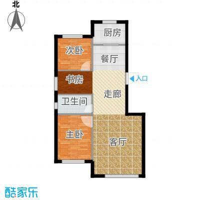 聚缘福地88.96㎡E户型3室2厅1卫