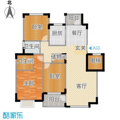 中信城128.39㎡枫丹白露11#地5#标准层户型3室2厅2卫