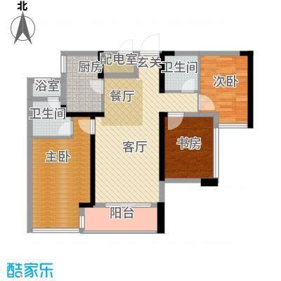 卓越皇后道89.00㎡031-2栋A-B单元A_D单位偶数层户型3室2厅2卫