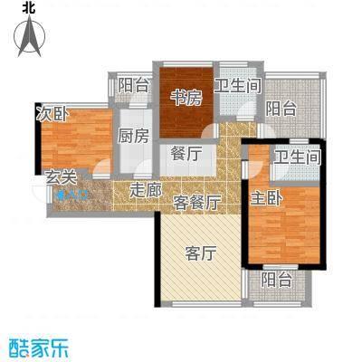 卓越皇后道021栋A-B单元B单位奇数层户型3室1厅2卫1厨