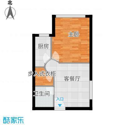 华豪丽晶54.67㎡3号楼C户型1室1厅1卫1厨
