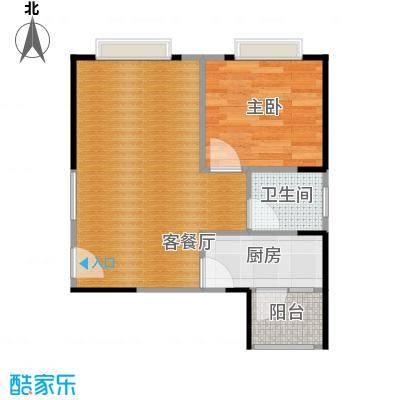 中惠香樟半岛53.00㎡14栋05户型1室2厅1卫