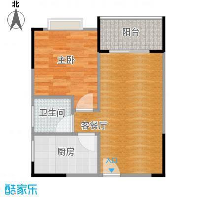 中惠香樟半岛48.00㎡14栋25栋03户型1室2厅1卫