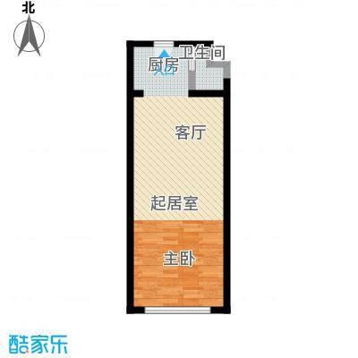 明翰国际60.19㎡明翰国际SOHO公寓 A2户型图 1室1厅1卫60.19平户型1室1厅1卫