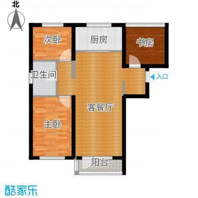 鑫展水岸102.00㎡户型3室2厅1卫
