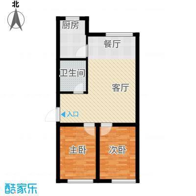 聚缘福地80.76㎡H户型2室2厅1卫