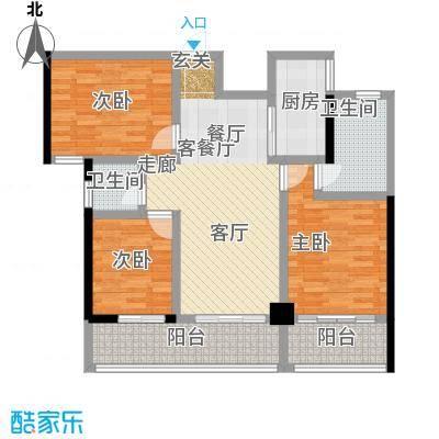 卓越皇后道065-6栋A-B单元A_D单位奇数层户型3室1厅2卫1厨