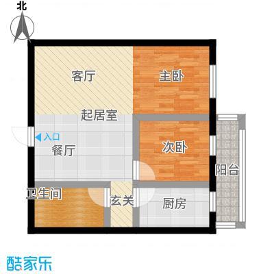 想想大厦76.00㎡C户型-01 两室一厅一卫76平米户型图户型2室1厅1卫