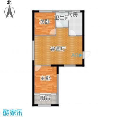 白领公寓80.00㎡户型2室2厅1卫