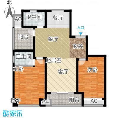 运河公馆117.00㎡高层C1户型 3房2厅2卫户型3室2厅2卫