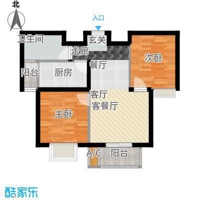 浩友凤凰城两室两厅一卫一厨76.17平米户型X