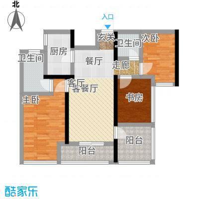 卓越皇后道031-2栋A-B单元A_D单位奇数层户型3室1厅2卫1厨