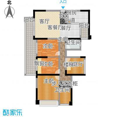 幸福城三期137.00㎡14栋03+04户型(奇数层)户型5室2厅2卫