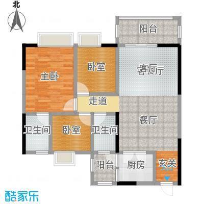 金田花园花域19栋标准层C1户型1室1厅2卫1厨