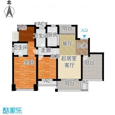 运河公馆137.00㎡高层E户型 4房2厅2卫户型4室2厅2卫