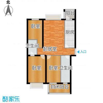 学府怡园98.53㎡户型3室1厅2卫