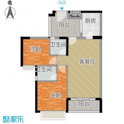 天御86.58㎡2号楼2-28层02、03号单位户型2室1厅2卫1厨