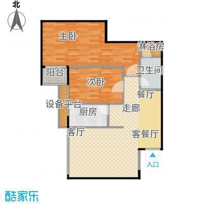 上东大道90.00㎡B户型2室2厅1卫户型2室2厅1卫