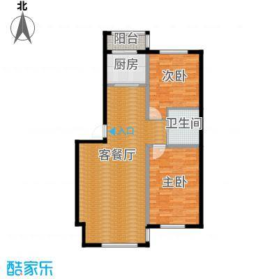 青石花语73.00㎡1、2、3号楼A户型2室2厅1卫