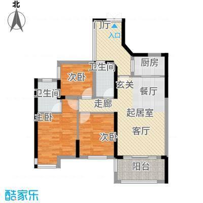 汇龙湾花园89.00㎡3号楼C型3房2厅2卫户型3室2厅2卫