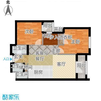 德嘉与海丝绒公寓两室两厅一卫户型2室2厅1卫