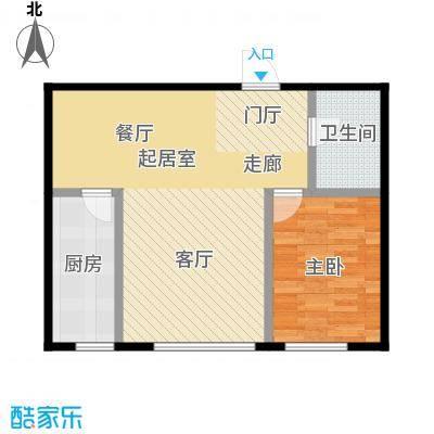 亿合城65.00㎡3号楼C户型两室一厅一卫户型1室1厅1卫