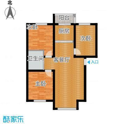 青石花语93.00㎡3号楼E户型3室2厅1卫